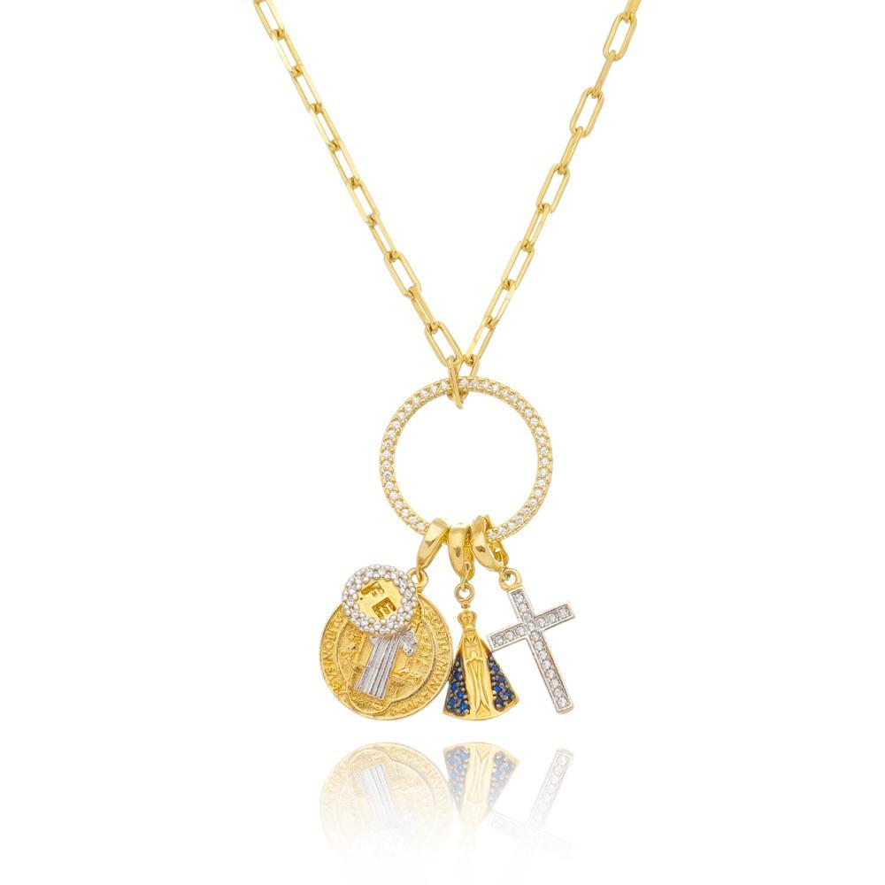 Colar Pingente Cruz de Jesus São Bento Nossa Senhora Aparecida e Fé Banhado a Ouro 18k 50cm
