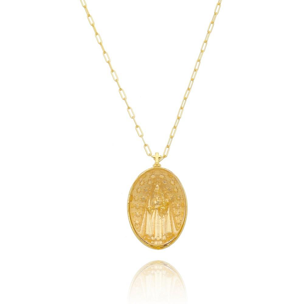 Colar Transparente  Nossa Senhora Das Graças Banhado a Ouro18k