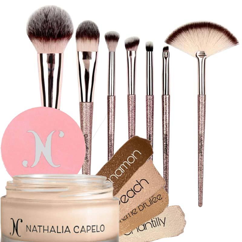 Kit Maquiagem Profissional Camuflagem La Mousse Nathalia Capelo + Pinceis Macrilan