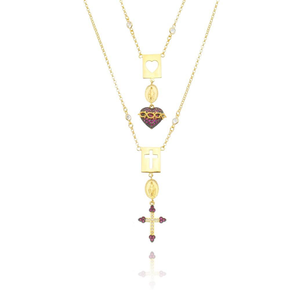 Colar Escapulário Feminino Sagrado Coração de Jesus com Cruz - Banhado a Ouro 18k