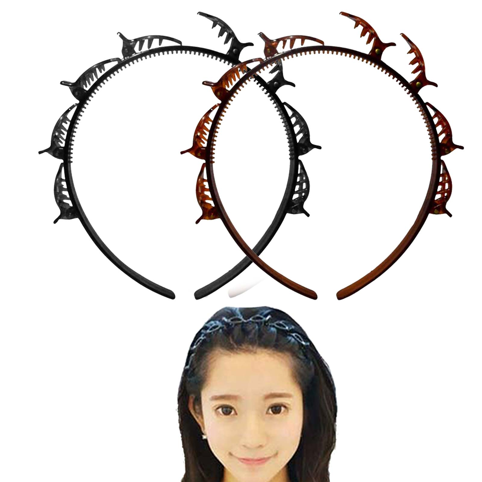 Kit 02 Tiara Com Presilhas Hair Twister Para Penteados De Cabelo