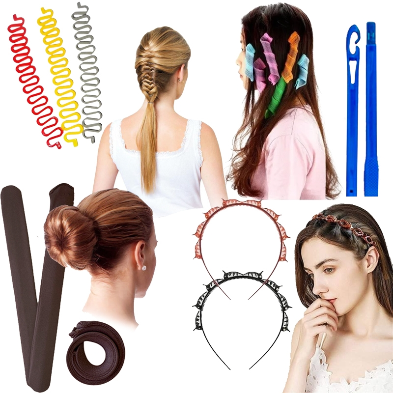 Kit Acessórios de Cabelo - Modelador de Cachos Mágico - Tiara Hair Twister - Easy bun para coque - Shang du para Trança