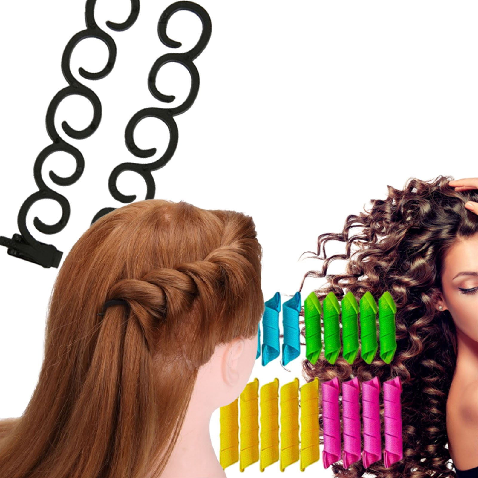 Kit Acessórios De Penteado Para Cabelos Cacheados + Trança