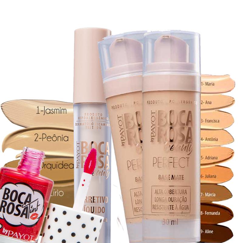 Kit Base + Corretivo + Lip Tint Boca Rosa Beauty