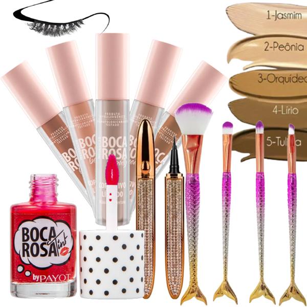Kit Corretivo Lip Tint Payot Boca Rosa + Pincéis e Caneta Magnética