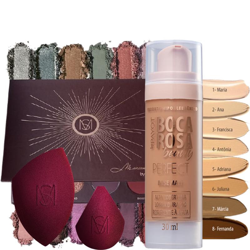 Kit de Maquiagem Base Boca Rosa + Paleta 12 Shades Mari Saad + Esponjas Blend