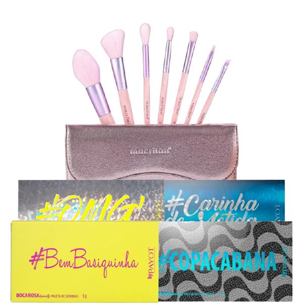 Kit de Maquiagem Boca Rosa Palatas + Kit de pincéis Go Party