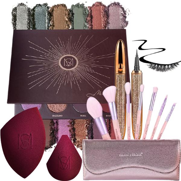 Kit de Maquiagem Caneta Magnética + Paleta e esponjas Mariana Saad + Kit de Pincéis