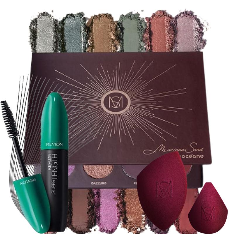 Kit de Maquiagem Mariana Saad Paleta de sombras 12 Shades + Esponjas + Máscara para Cílios Revlon