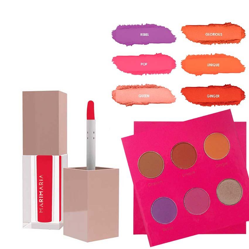 Kit de maquiagem Paleta de sombra + Batom Mari Maria Makeup