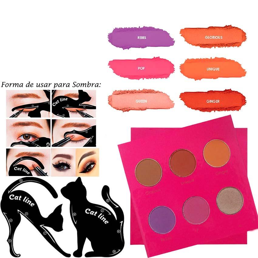 Kit de Maquiagem Paleta de Sombras Mari Maria + Cat Line