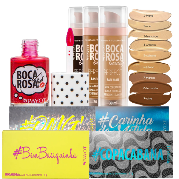 Kit de Maquiagem Payot Boca Rosa Paletas Base Lip Tint