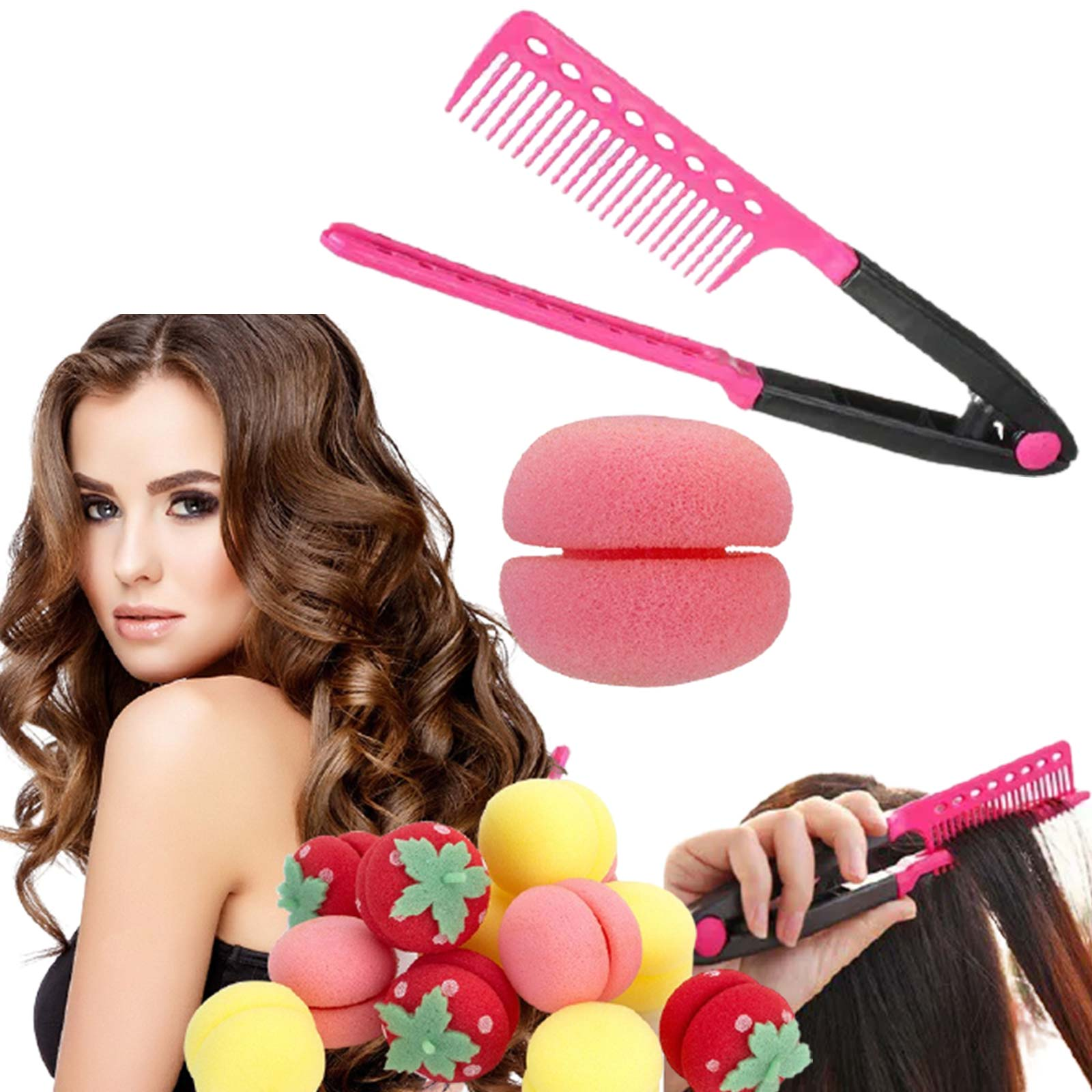 Kit Esponja modeladora de cachos + Pente desembaraçador de cabelo