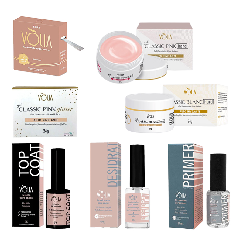 Kit Fibra Volia Base + Pink Glitter + Pink Hard Kit Preparador Gel