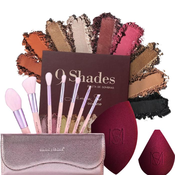Kit Paleta de Sombras  9 Shades + Esponja Blend Mariana Saad + Kit de Pincéis Go Party Macrilan