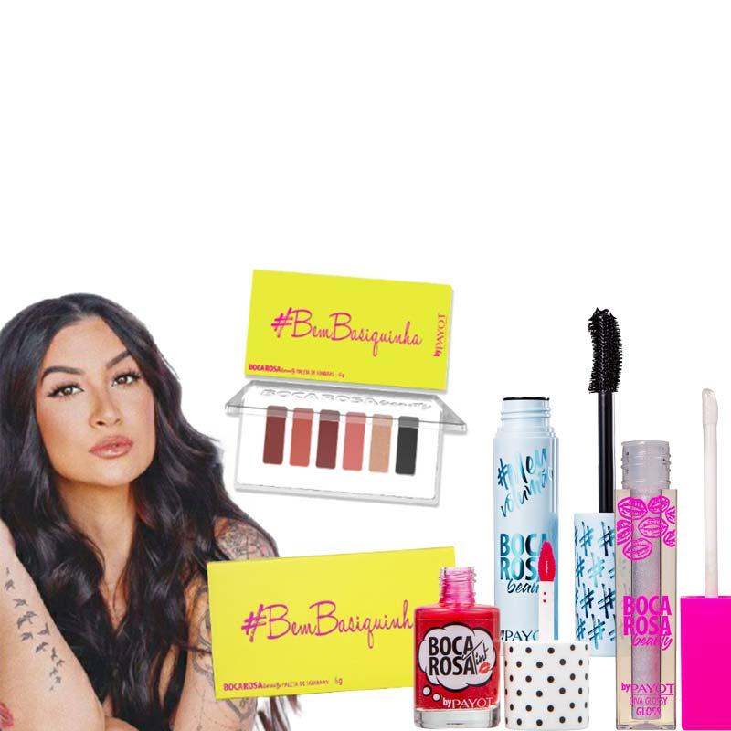 Kit Paleta de Sombras + Lip Tint + Gloss + Máscara de Cílios Boca Rosa