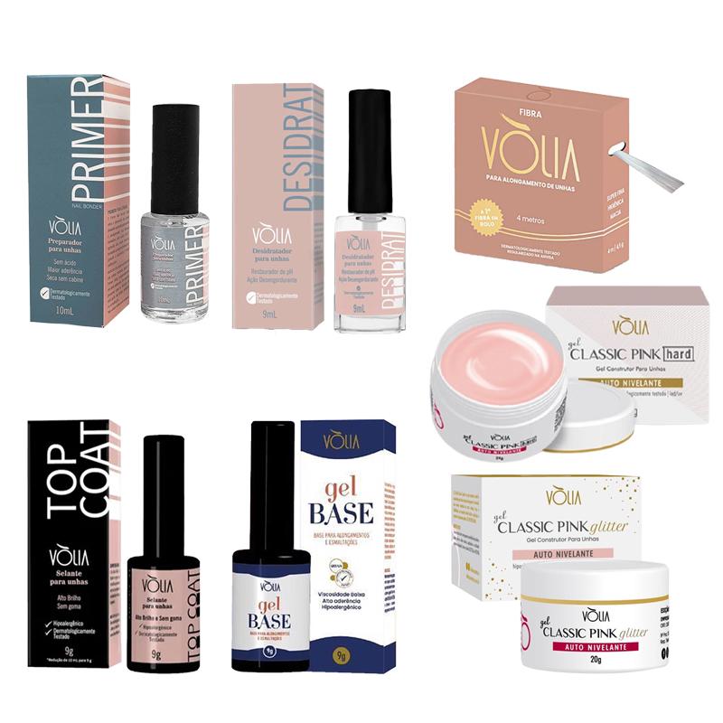 Kit Volia Base + Pink Hard e Glitter + Desidrat + Primer