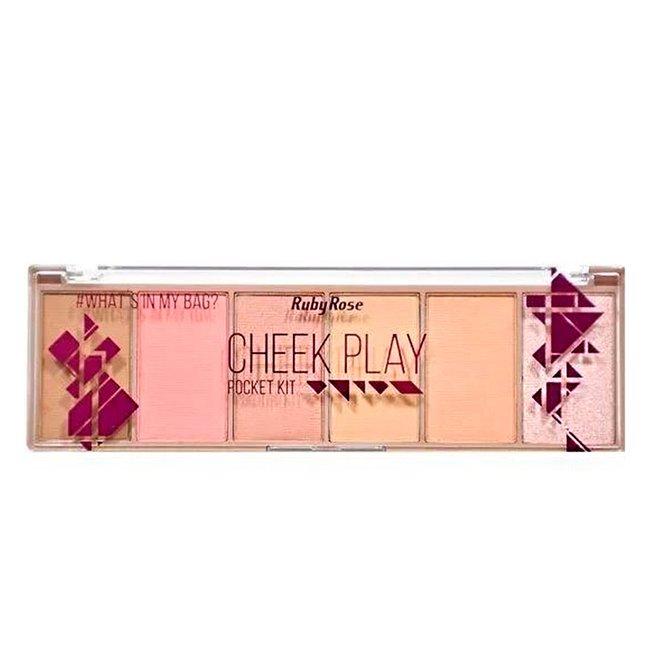 Paleta de Blush Contorno e Iluminador Pocket Cheek Play Ruby Rose