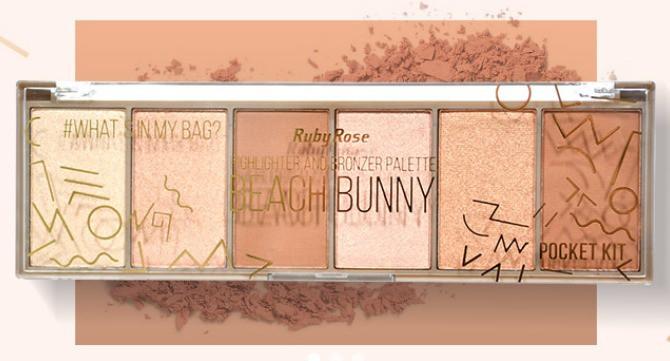 Paleta de Iluminador e Bronzeador Pocket Beach Bunny Ruby Rose