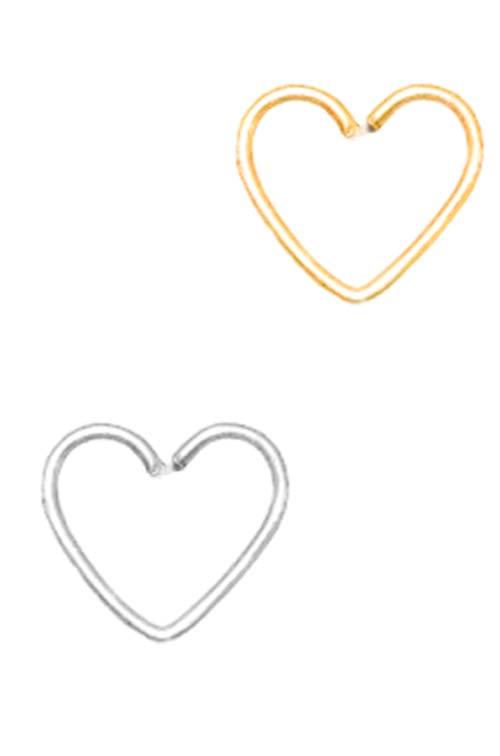 Piercing Aço Coração Dourado Prata