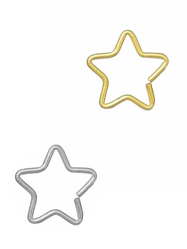 Piercing Aço Estrela Prata Dourado