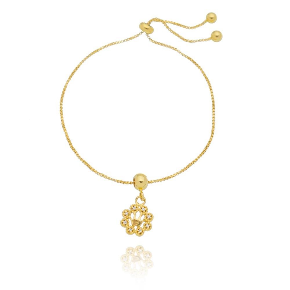 Pulseira Flor  Banhada a Ouro 18k