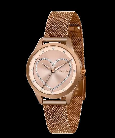 Relógio Feminino Lince Coração Strass LRR4557L R1RX Rosé