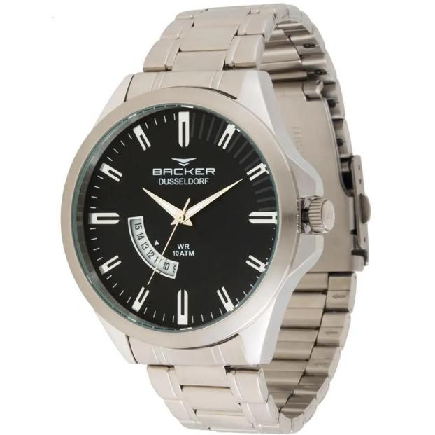 Relógio Masculino Casual Backer Germany 6107253 Pr Prateado
