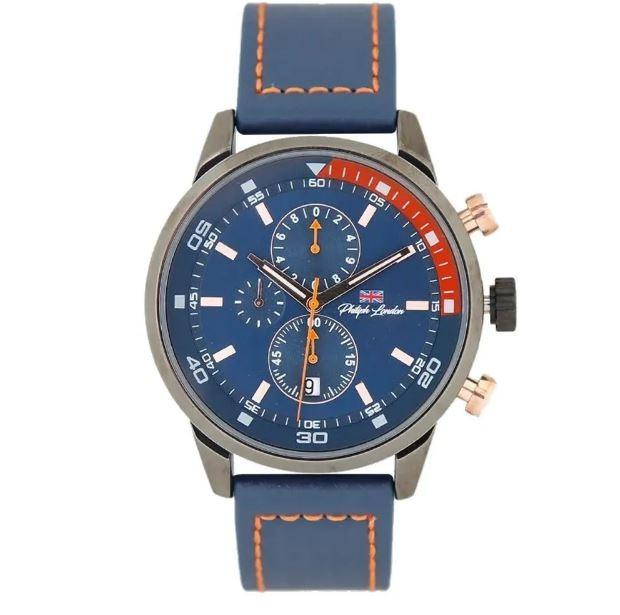 Relógio Masculino Couro Philiph London PL8005612M Azul