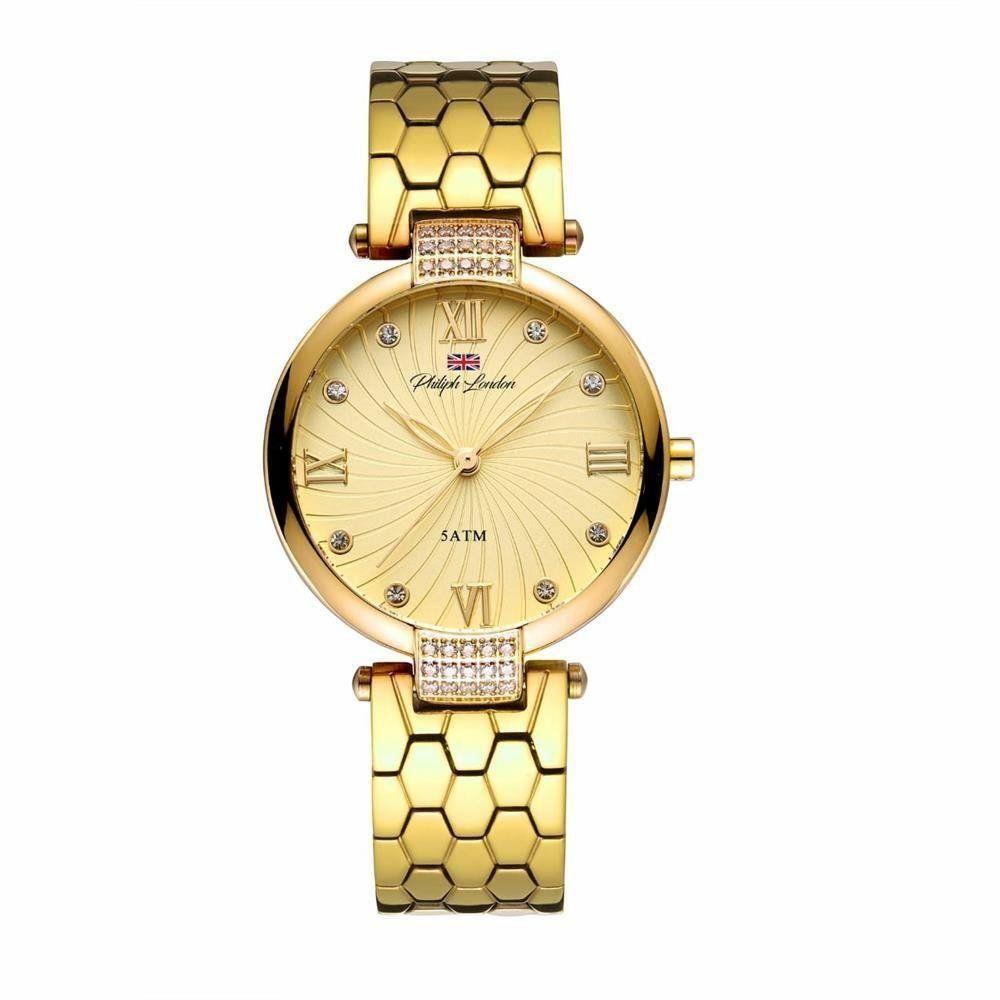 Relógio Feminino Philiph London Ch Social Dourado - Pl81028145f