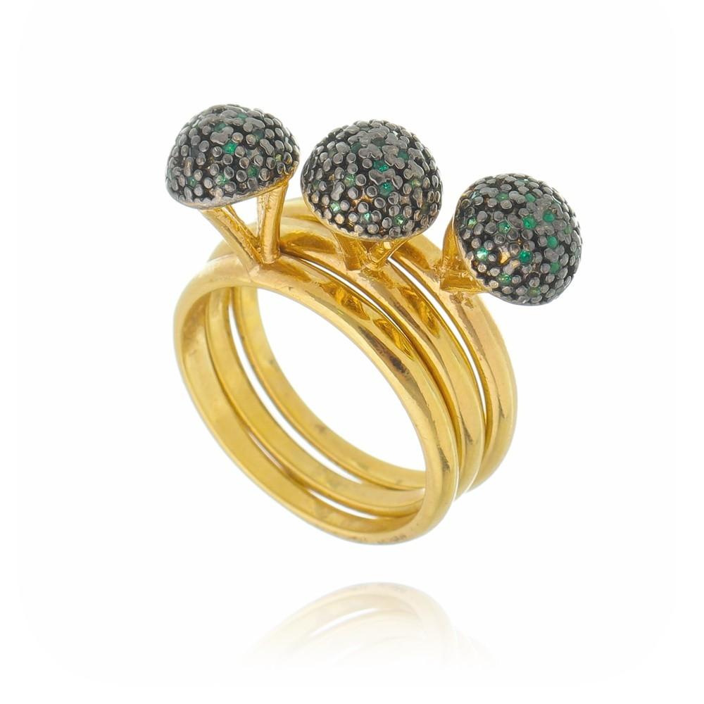 Trio de Anéis Cravejados em Zircônias Verdes Banhado a Ouro 18k