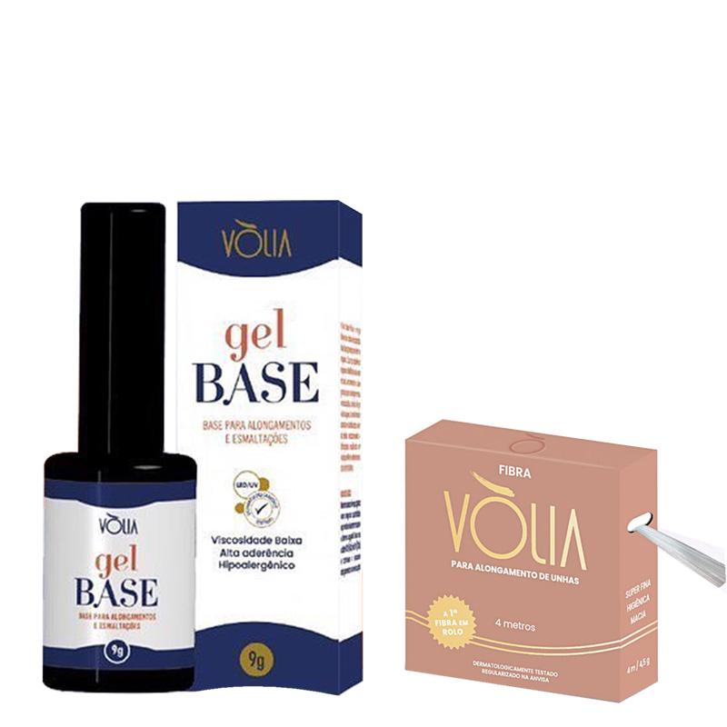 Volia Kit Gel Capa Base 9g + Fibra De Vidro Premium Em Rolo