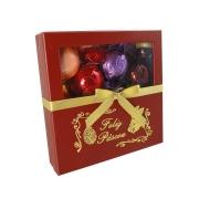 Caixa Elegante Feliz Páscoa Vermelha com Chocolates Variados Borússia Chocolates