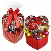 Caixa Presente Coração Grande com Chocolates Variados Borússia Chocolates