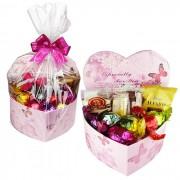 Caixa Presente Coração Média Especial Rosa com Chocolates Variados Borússia Chocolates