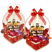 Cesta Coração com Chocolates Variados Borússia Chocolates
