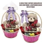 Cesta Florista Feliz Dia das Mães com Chocolates e Ursinho de Pelúcia Borússia Chocolates
