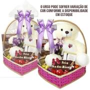 Cesta Premium Feliz Dia das Mães com Chocolates e Ursinho de Pelúcia Borússia Chocolates