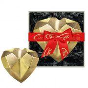 Coração de Diamante Dourado com Chocolate Belga e Creme de Avelâ 200g Borússia Chocolates