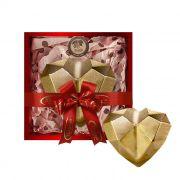 Coração de Diamante Dourado com Chocolate Belga e Creme de Avelâ 600g Borússia Chocolates