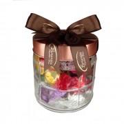 Pote de Vidro Pequeno com Chocolates Variados Borússia Chocolates