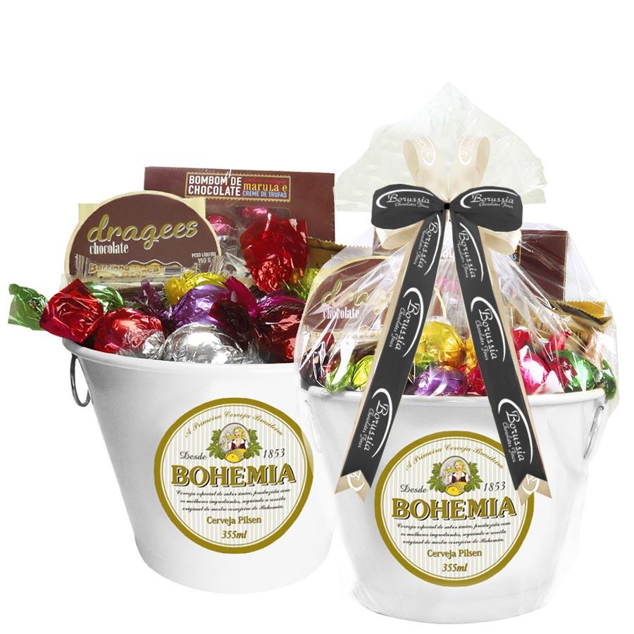 Balde de Gelo Bohemia com Chocolates  Borússia Chocolates
