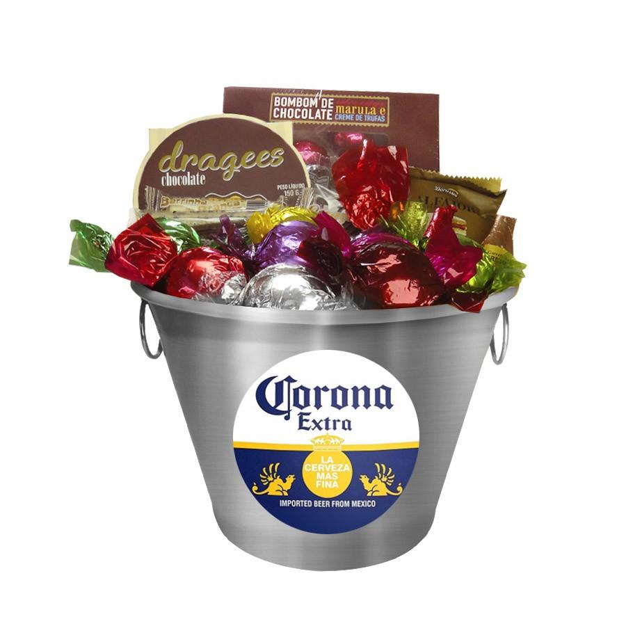 Balde de Gelo Corona Extra com Chocolates Chocolates