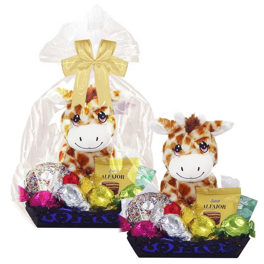 Bandeja Decorada Infantil de Chocolate com Girafa de Pelúcia Borússia Chocolates