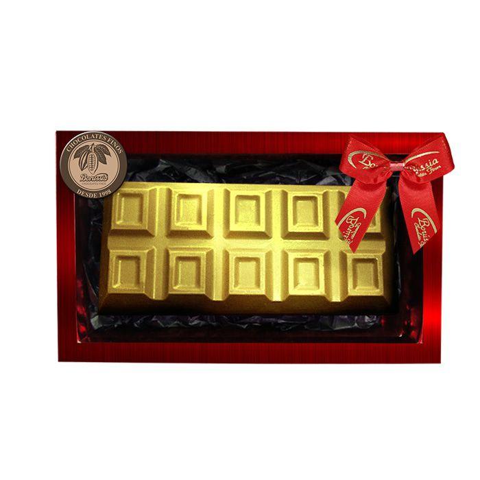 Barra de Chocolate Belga Recheado com Creme de Avelâ 300g Borússia Chocolates