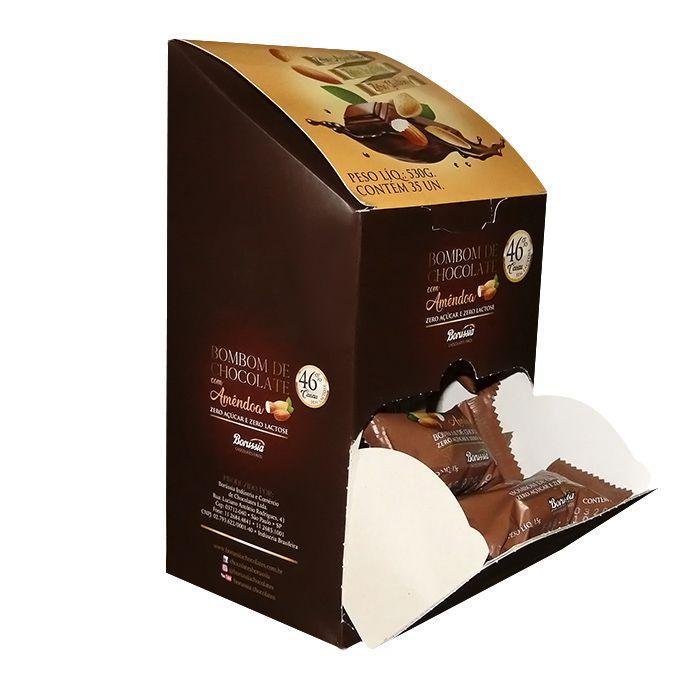 Bombom com Amêndoa sem Adição de Açúcar / sem Lactose com 35 Unds Borússia Chocolates