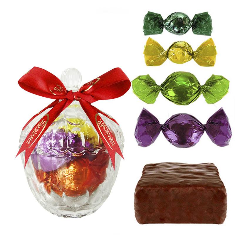 Bomboniere de Vidro com Chocolates Variados Borússia Chocolates