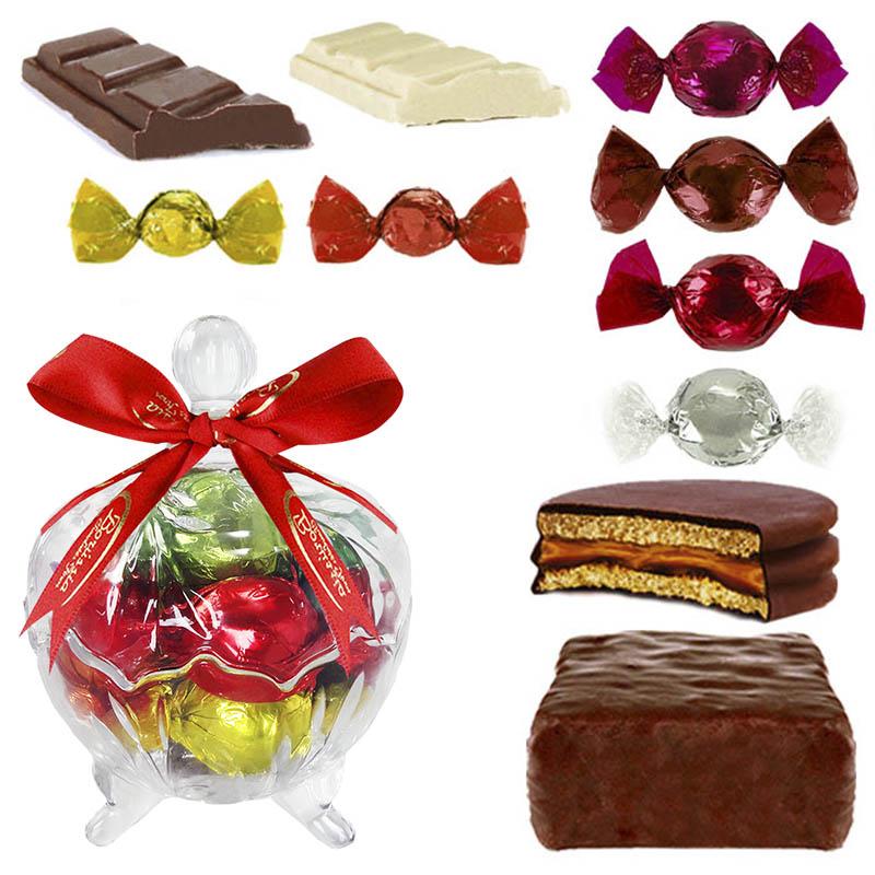 Bomboniere de Vidro Grande com Chocolates Variados Borússia Chocolates
