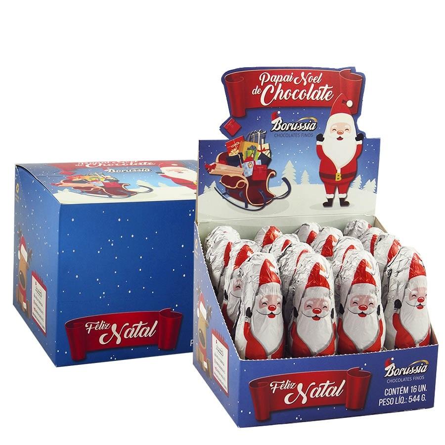 Boneco Papai Noel de Chocolate ao Leite com 16 unidades Borússia Chocolates