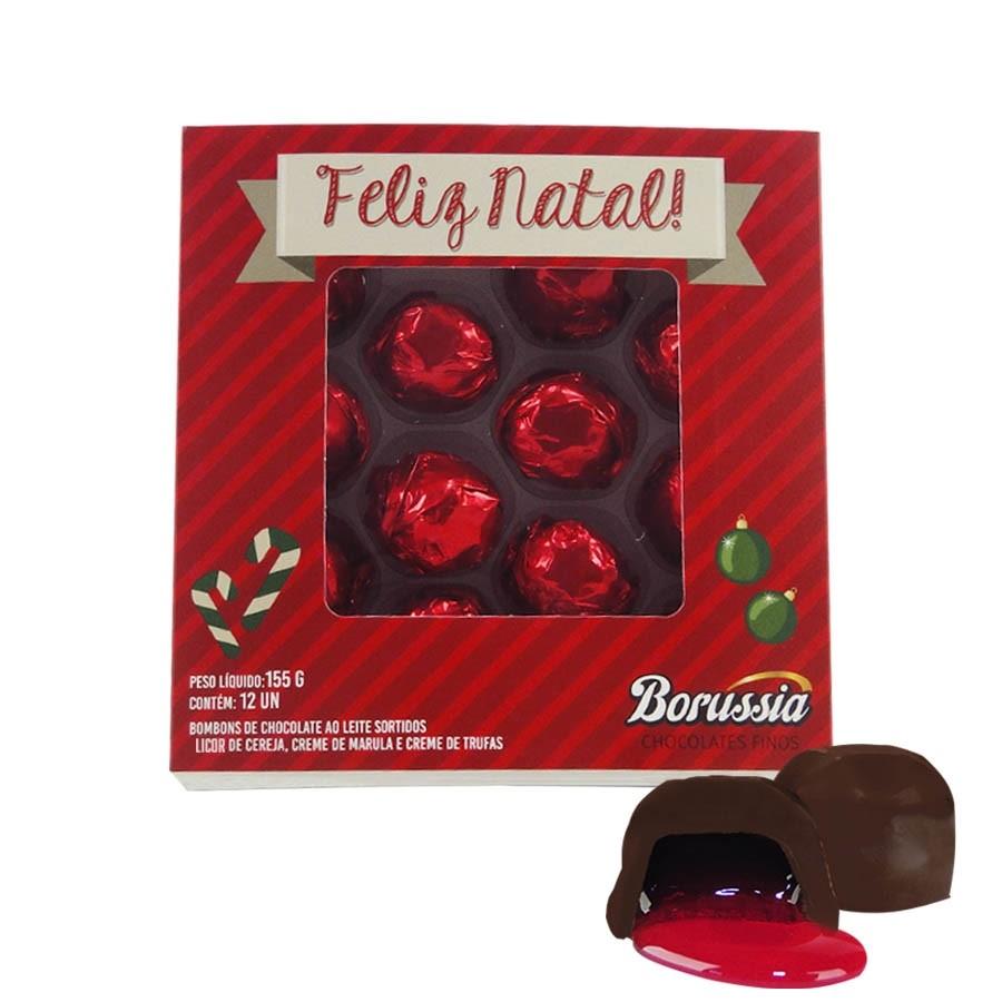 Caixa de Natal Quadrada com 12 Bombons Sortidos Borússia Chocolates